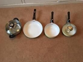 3 piece non stick ceramic frying pan set with 1 glass lid plus pot with glass lid