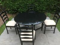 Black gateleg table and 4 chairs