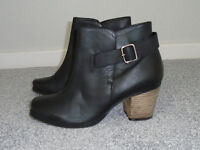 Black Leather Boots - Size 6