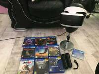 ps4 vr headset, camera, controllers and 9 games