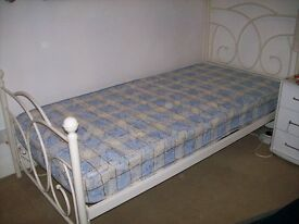 Cream Metal Single Bed Frame (without mattress) & Metal Slide Under Single Bed (with mattress)