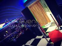 Photobooth, marquee hire, love display, Roche stands.