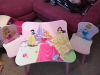 Princess table and two chairs