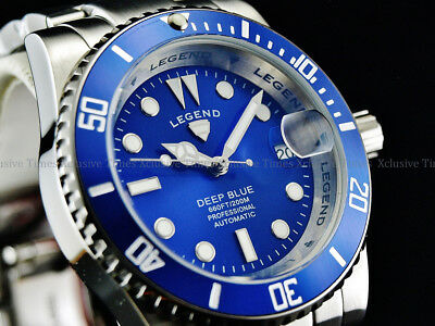 NEW Legend Men Submariner Deep Blue Diver Automatic Sapphitek BLUE Dial SS Watch Deep Diver Silver Dial