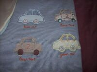 LITTLE BOYS CAR COT/ COT BED BEDDING SET AND CHANGING MAT (bedding only)