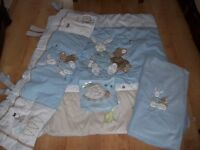 GORGEOUS SOFT FLEECY BABY BLUE COUNTRY KISSES COT BEDDING SET ALSO HAVE COTBEDS AVAILABLE