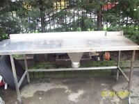stainless steel catering tables x2