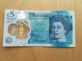AC39 532215 new plastic five pounds note!