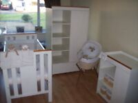 12 ITEM, I LOVE MY BEAR NURSERY BUNDLE COTBED,WARDROBE,CHANGING UNIT,MOSES BASKET,STAND + BEDDING