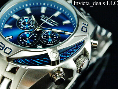 NEW Invicta Men's 52mm BOLT SCUBA Chronograph BLUE DIAL Silver Tone SS Watch