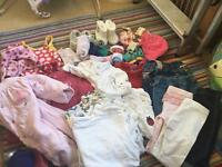 Big bag of baby clothes & accessories