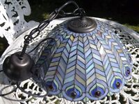 TIFFANY STAINED LEADED GLASS 2 LIGHT LARGE PENDANT CEILING LIGHT