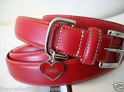 Red Heart Leather Dog Collar (NEW COACH RED ❤️HEART EXTRA SMALL & SMALL & LARGE LEATHER DOG COLLAR XS S L)