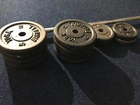 50kg cast iron weights and barbell