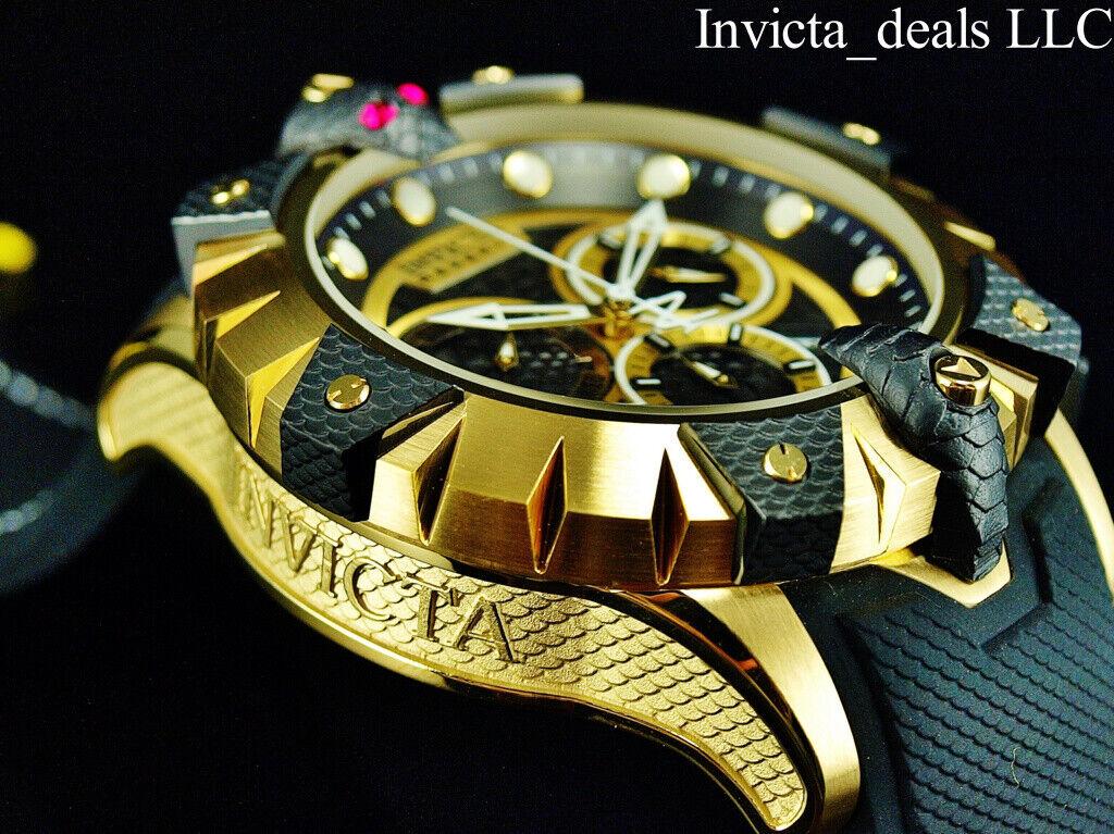 Invicta Men's Reserve Venom Viper Gold Tone Black Silicone 5
