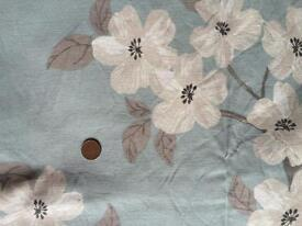 Blue/stone floral curtains