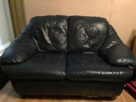 Real leather navy 3 seater and 2 seater sofas