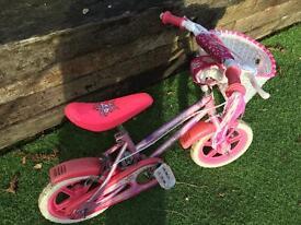 "Girls 12"" wheel beginners bike with basket"