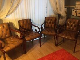 Chesterfield dining chair x4 & antique solid leather