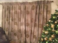 Curtains Dunelm made to measure , 3 matching cushion covers , 3 lime cushions and flower vase