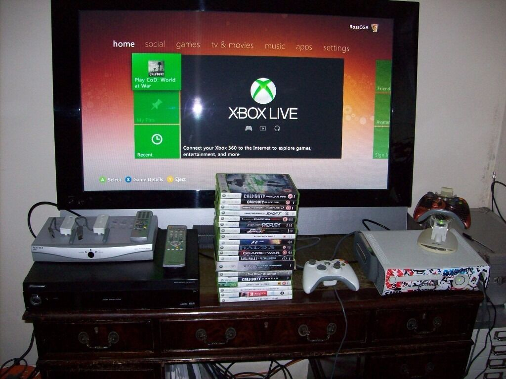xbox one living room complete set up 43 inch plasma tv xbox 360 21 13085
