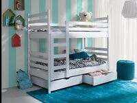 WOODEN BUNK BED WITH MATTRESSES & STORAGE. White