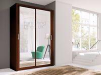 5 colors of Lux 150 2 Door Sliding Wardrobe white black wenge oak grey, cabinet, full Mirror