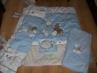 GORGEOUS SOFT BABY BLUE COUNTRY KISSES BEDDING SET FOR COT OR COT BED INC DUVET,BUMPER,AND MORE