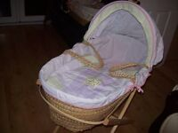 LOVELY GIRLY WAFFLE MOSES BASKET WITH MATTRESS AND STAND