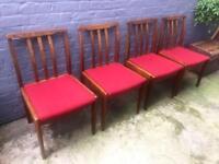 4 x vintage 60s 70s teak dining chairs mid century retro