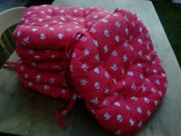 Lovely red and sand color chair cuttions