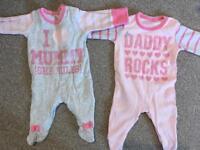 2 x NEW Next Baby Grl Sleepsuits, First Size, I Love Mummy (She Rules), Daddy Rocks