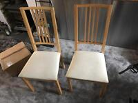 2 soft pine dining chairs