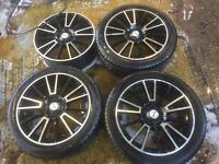 "17"" FOX RACING ALLOY WHEELS ASTRA, CORSA, CLIO, MEGANE, CIVIC, MINI POLO SET OF 4"