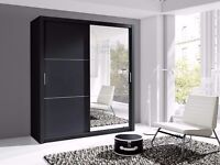 in White or black Lux 180 2 Door Sliding Wardrobe high gloss + Mirror Wardrobe in black, cabinet
