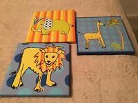 3 animal canvas'