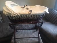 Wicker Moses basket with stand & bedding