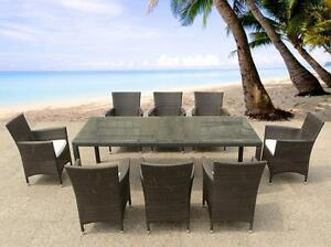 Outdoor Dining Set Wicker Patio Table with 8 Chairs ITALY220