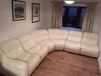 Dfs cream leather large corner sofa