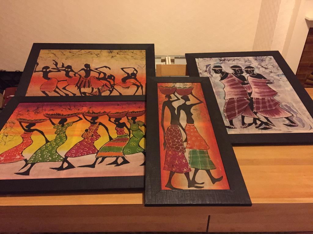 4x handmade wood picture frames with batik canvases African art | in ...