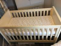 Mamas & Papas beech and white cot bed with mattress