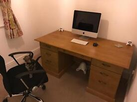 Apple Mac, JBL sound system, office desk and chair