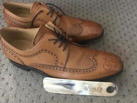 Barker Larry Leather Men's Brogue Cedar Calf Shoes 10.5