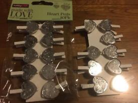 Silver heart pegs
