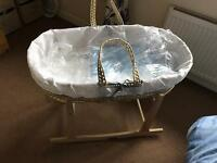 Clair de Lune Moses Basket and Rocking Stand - Brand New