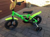 "Kids 12"" teenage ninja turtles bike with stabilisers excellent condition"