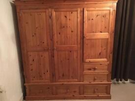 Solid waxed pine wardrobe