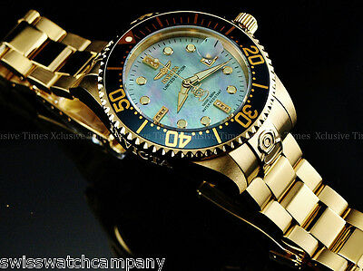 New Invicta Men 300m Diamond Limited Ed Grand Diver Automatic MOP 18KGP SS Watch