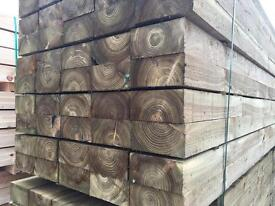"""🌳8""""X 4""""X 2.4M Pressure Treated Wooden Sleepers •New•"""