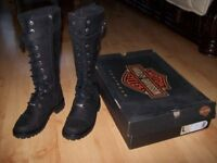 LADIES SIZE 5 GENUINE BOXED AS NEW HARLEY DAVIDSON MOTOTCYCLE RIDING BOOTS